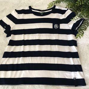 Lauren Ralph Lauren striped logo pocket tee
